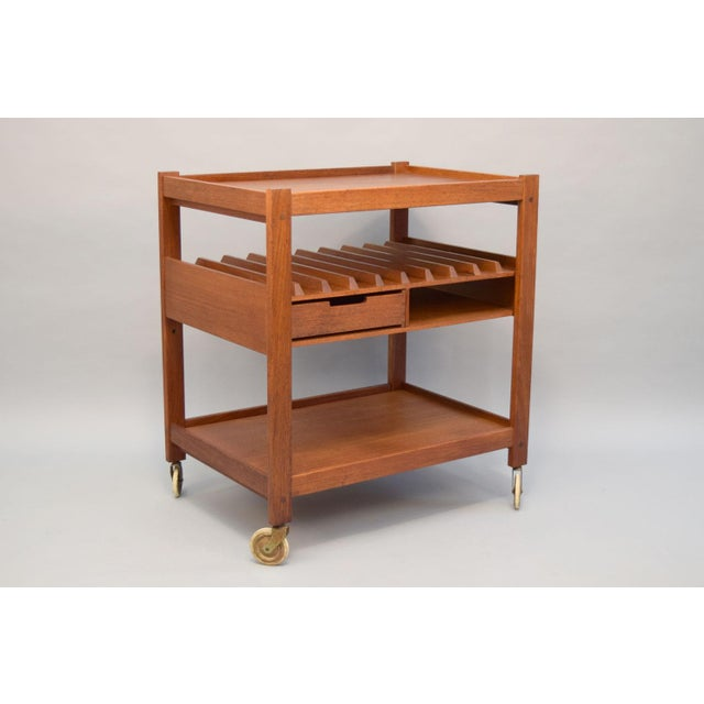 Mid-Century Teak Bar Cart With Reversible Serving Tray - Image 10 of 10