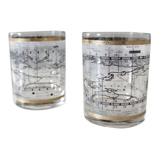 Mid Century Cera Cocktail Glasses Time Zone World Map Gold Black - a Pair