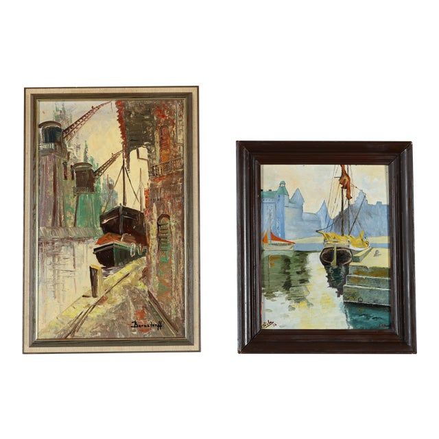 Docked Ships Gallery Wall Art Paintings - a Pair - Image 1 of 5