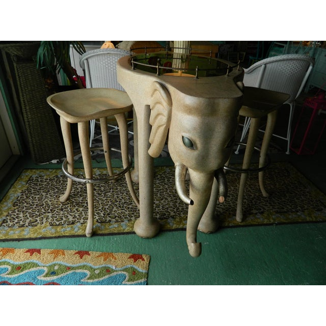 Image of Marge Carson Elephant High Table & Stools - Set of 3