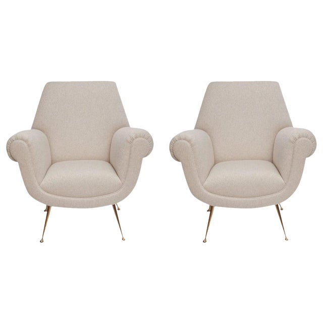 Fully Restored Pair of 1950s Italian Lounge Chairs by Gigi Radice for Minotti - Image 1 of 10