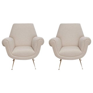 Fully Restored Pair of 1950s Italian Lounge Chairs by Gigi Radice for Minotti