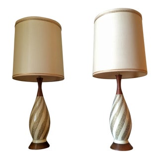 F.A.I.P. Mid-Century Modern Danish Teak & Plaster Table Lamps - A Pair