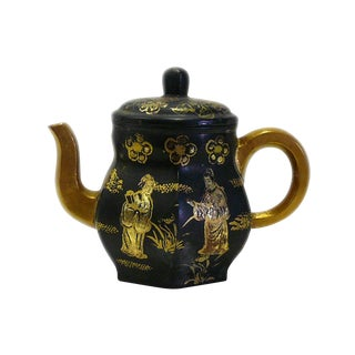 Handmade Chinese Zisha Clay Black Golden Scenery Teapot Display