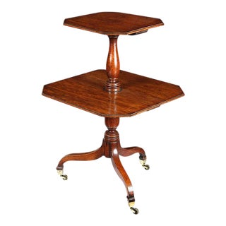 Mahogany Georgian Two-tier Dumbwaiter with Collapsible Leaves