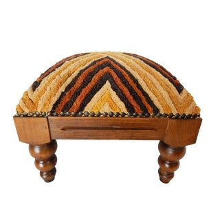 Velvet Kuba Cloth Footstool