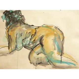 Nude Kneeling Ink Drawing