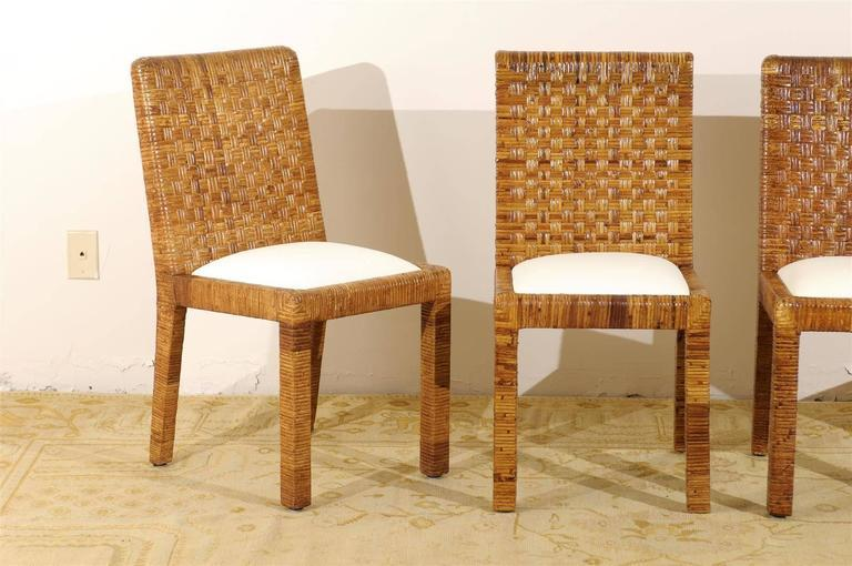 Restored Set Of Eight Vintage Rattan Dining Chairs By Bielecky Brothers    Image 5 Of 10