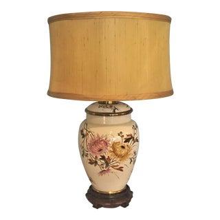 English Floral Transferware Vase Lamp