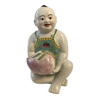 Large Asian Goddess Guan Yin Golden Boy Figurine