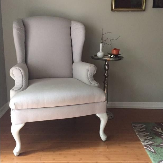 Image of Vintage Neutral Linen Wingback Chair