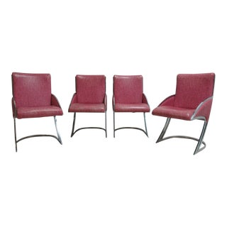 Vintage Cantilever Chrome Floating Dining Room Chairs - Set of 4