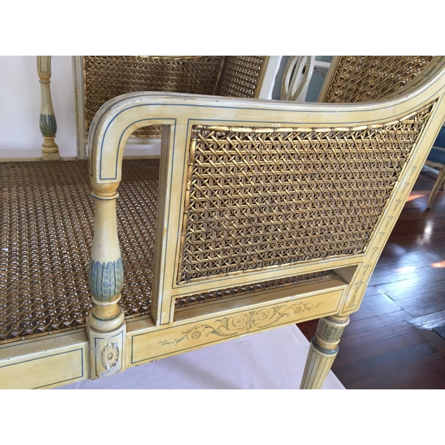 Antique Adams Painted Neoclassical Caned Chaise - Image 11 of 11