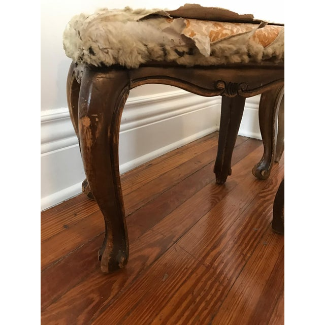 Fur-Topped Distressed Antique Footstools - A Pair - Image 4 of 7