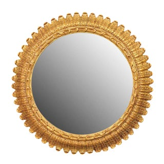 French Round Giltwood Foliage Decorated Mirror from the Mid-20th Century