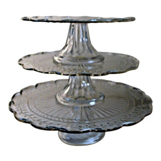 Vintage Depression Glass Tiered Stand