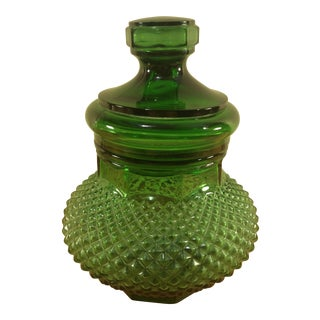 Green Depression Glass Lidded Candy Dish