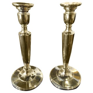Art Deco Silver Plated Bronze Candlesticks - Pair