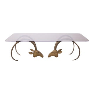 Ibex or Ram's Head Brass Coffee Table in the Manner of Chervet