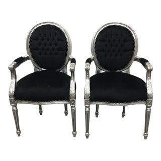 Louis XVI Style Silver & Black Accent Chairs- A Pair