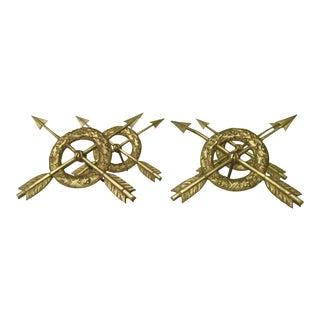 French Brass Arrow Curtain Tiebacks - Set of 4
