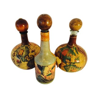 Italian Leather Wrapped Decanters - Set of 3