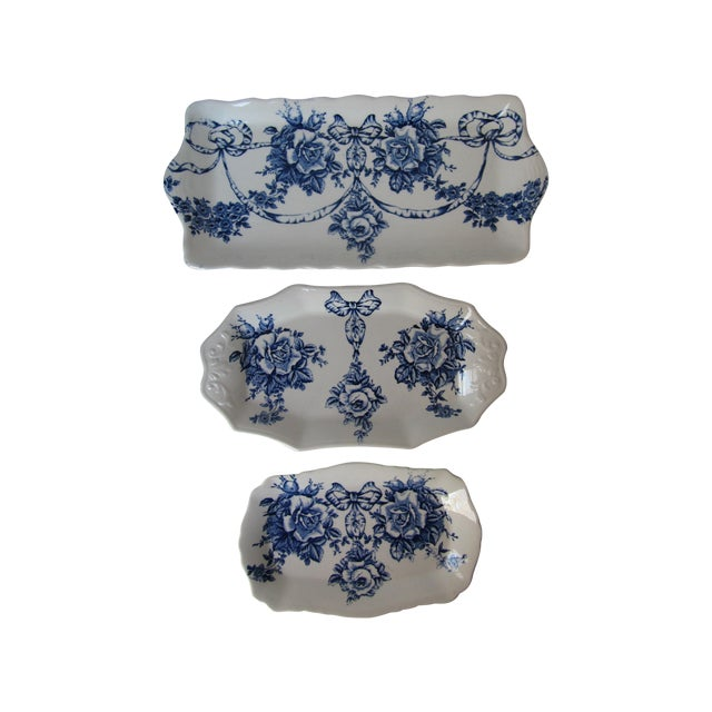 Rose Blue & White Plates - Set of 3 - Image 1 of 7