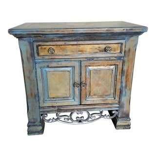Solid Wood Nightstand With Wrought Iron Accent