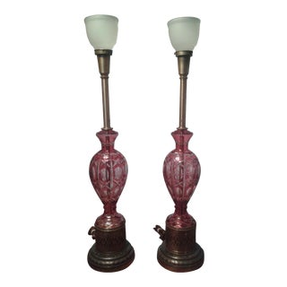 Bohemian Cranberry Cut to Clear Lamps - Pair