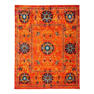 Suzani, Hand Knotted Orange Wool Area Rug - 8' X 10' 3""