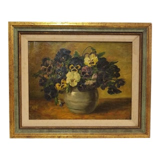 19th Century Jacobus Van Stuiveling Pansies Dutch Oil Painting