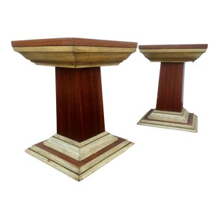 Distressed Vintage Pedestals - A Pair
