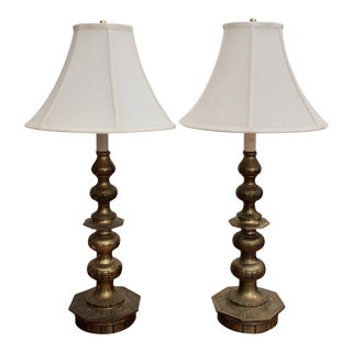 Brass Chinoiserie Lamps - a Pair