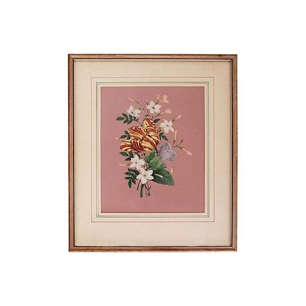 Image of Vintage 1940s Pink Floral Bouquet Botanicals - Pair