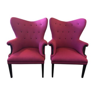Vintage Hot Pink Wingback Chair - One Left!