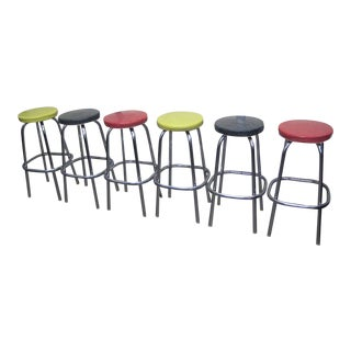 Mid-Century Multicolored Bar Stools - Set of 6
