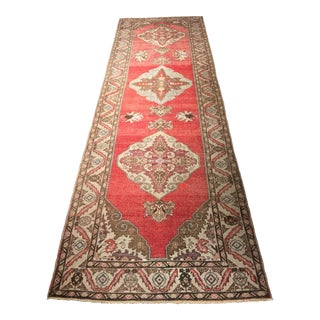 Vintage Turkish Oushak Runner Rug - 3′3″ × 11′3″