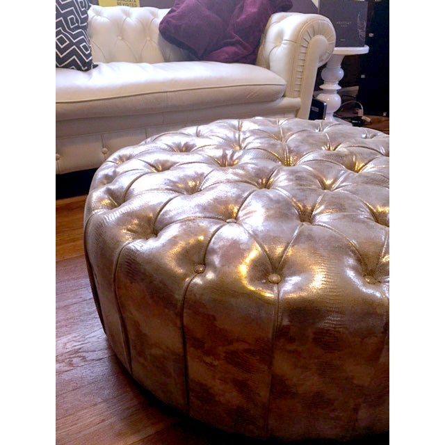 Glimmering Gold Tufted Ottoman - Image 4 of 4