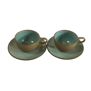 Vintage Heath Mid Century Teacups & Saucers - Set of 2