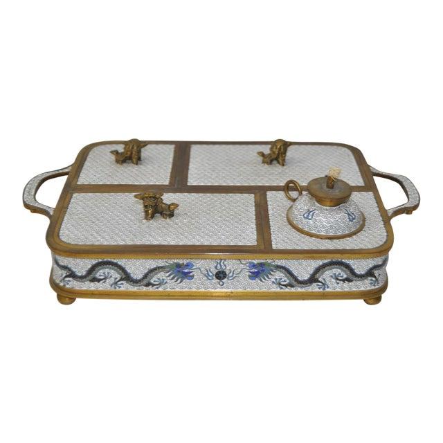 Blue & White Cloisonne Enameled Desk Set - Image 1 of 11