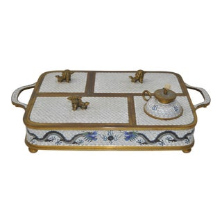 Blue & White Cloisonne Enameled Desk Set