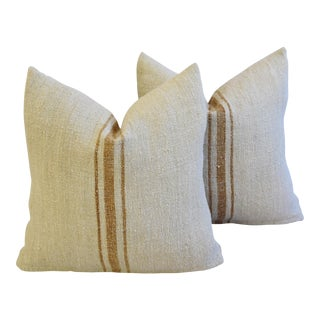 Custom French Gold Stripe Gain Sack Feather/Down Pillows - A Pair