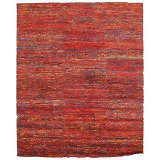 Red Sari-Silk Modern Rug - 10' X 14'