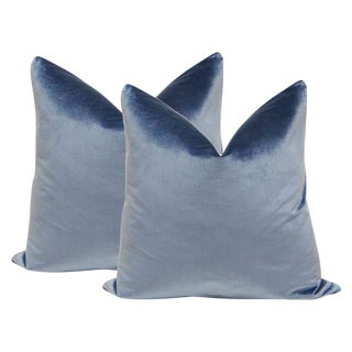 "22"" Italian Silk Velvet Pillows in Prussian - A Pair"