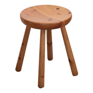 Charlotte Perriand Les Arcs Stool in Pine, circa 1965