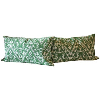 Ornate Green Chevron Cotton Cover Pillows - Pair