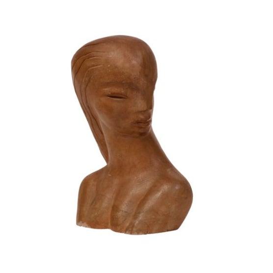 Image of Modernist Ceramic Female Bust
