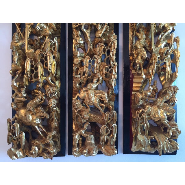 Antique Chinese Wooden Temple Panels - Set of 3 - Image 7 of 7