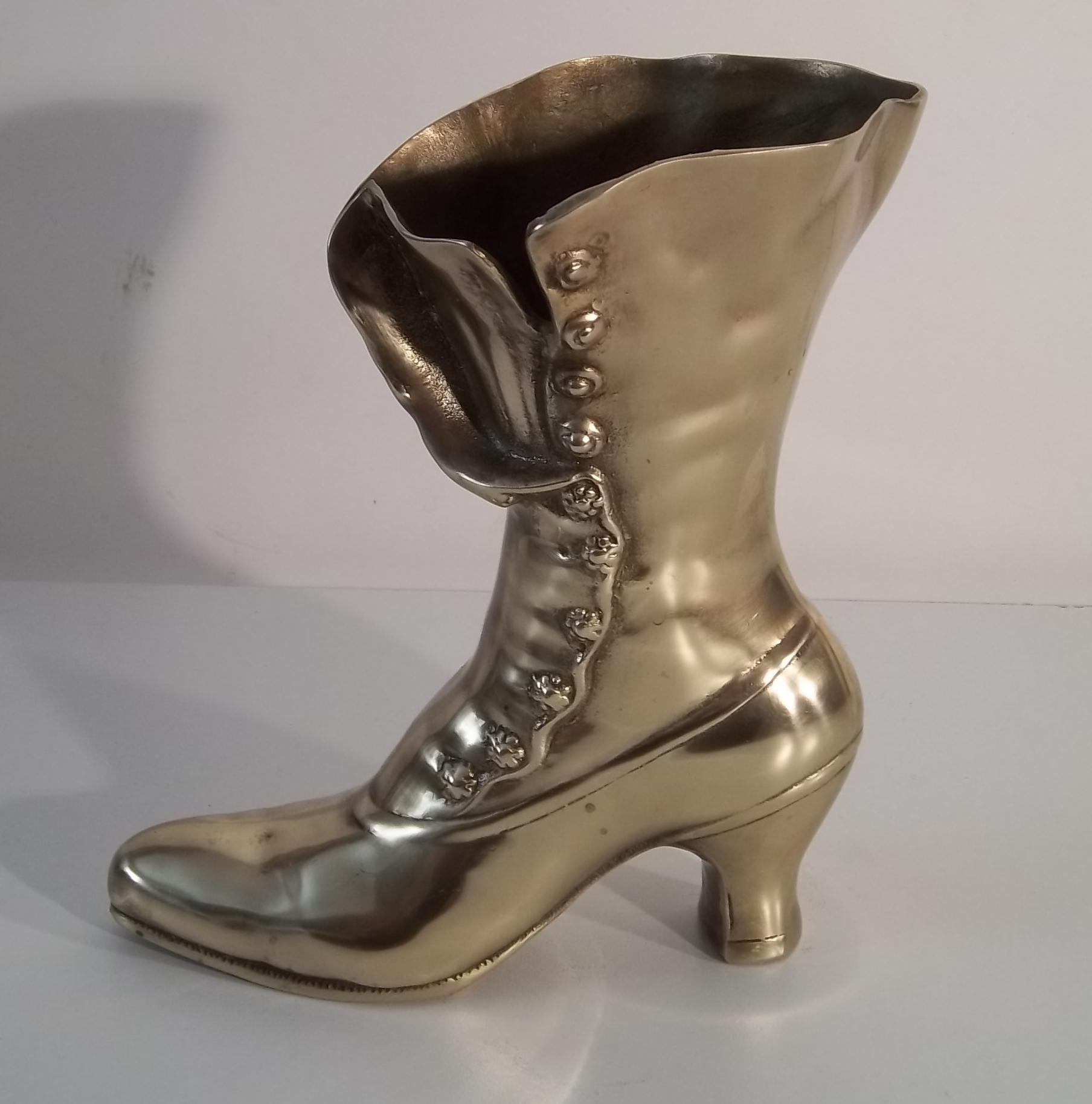 Brass La s Boot Vase
