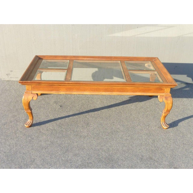 Vintage French Provincial Coffee Table: Vintage French Country Glass Top Wooden Coffee Table